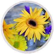 Round Beach Towel featuring the photograph Sunny Days by Ally  White