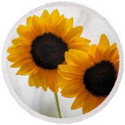 Sunny Flower On A Rainy Day Round Beach Towel