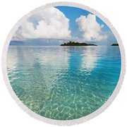 Sunny Invitation For  You. Maldives Round Beach Towel