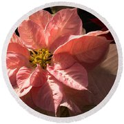 Sunny Pink Poinsettia - Vibrant Christmas Greetings Round Beach Towel