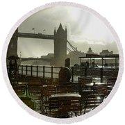Sunny Rainstorm In London - England Round Beach Towel by Georgia Mizuleva