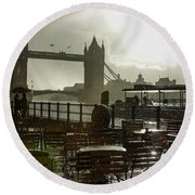 Sunny Rainstorm In London England Round Beach Towel