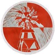 Sunny Windmill Round Beach Towel