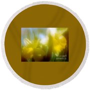 Round Beach Towel featuring the photograph Sunny Yellow Daffodils by Michael Hoard