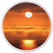 Round Beach Towel featuring the photograph Sunrise And Fog by E Faithe Lester