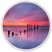 Sunrise At Deal Nj Round Beach Towel by Michael Ver Sprill