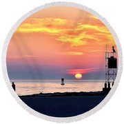 Sunrise At Indian River Inlet Round Beach Towel
