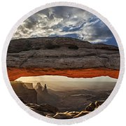 Sunrise At Mesa Arch Round Beach Towel