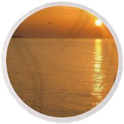 Sunrise At Sea Round Beach Towel by Photographic Arts And Design Studio
