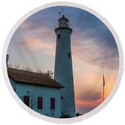 Round Beach Towel featuring the photograph Sunrise At Sturgeon Point by Patrick Shupert