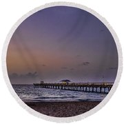 Round Beach Towel featuring the photograph Sunrise At The Beach by Anne Rodkin