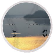 Sunrise Over The Hula Valley Israel 1 Round Beach Towel