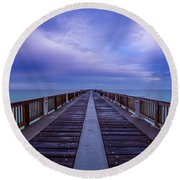 Sunrise At The Panama City Beach Pier Round Beach Towel