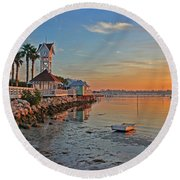 Sunrise At The Pier Round Beach Towel by HH Photography of Florida