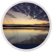 Sunrise On The Lake Round Beach Towel