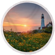 Sunrise Bliss At Portland Lighthouse Round Beach Towel