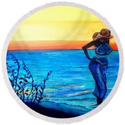 Sunrise Blues Round Beach Towel by Ecinja Art Works