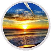 Sunrise Round Beach Towel by Carlos Avila