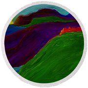 Round Beach Towel featuring the painting Sunrise Castle By Jrr by First Star Art