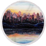 Round Beach Towel featuring the painting Sunrise City by Shana Rowe Jackson
