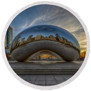 Round Beach Towel featuring the photograph Sunrise Cloud Gate by Sebastian Musial