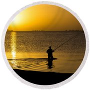 Sunrise Fishing Round Beach Towel