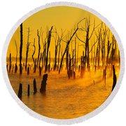 Sunrise Fog Shadows Round Beach Towel by Roger Becker