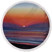 Round Beach Towel featuring the painting Sunrise Glow by Donna Tuten