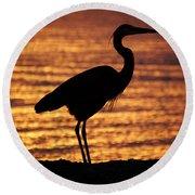 Round Beach Towel featuring the photograph Sunrise Heron by Leticia Latocki
