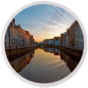 Sunrise In Bruges Round Beach Towel
