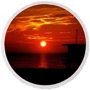 Sunrise In Miami Beach Round Beach Towel