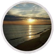 Sunrise In Norfolk Va Round Beach Towel