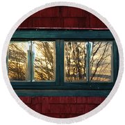 Round Beach Towel featuring the photograph Sunrise In Old Barn Window by Susan Capuano