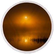 Sunrise In The Fog Round Beach Towel