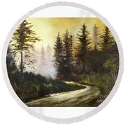 Sunrise In The Forest Round Beach Towel by Lee Piper