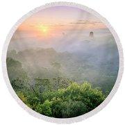 Sunrise In Tikal Round Beach Towel