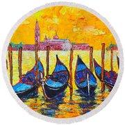 Sunrise In Venice Italy Gondolas And San Giorgio Maggiore Round Beach Towel by Ana Maria Edulescu