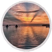 Sunrise Kayaking Round Beach Towel