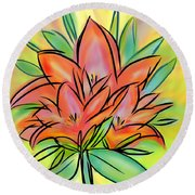 Sunrise Lily Round Beach Towel