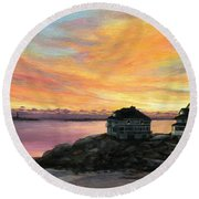 Sunrise Long Beach Rockport Ma Round Beach Towel by Eileen Patten Oliver