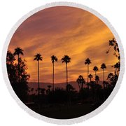 Sunrise Looking East Towards Mecca Round Beach Towel