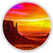 Sunrise Monument Valley Mittens Round Beach Towel
