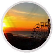 Sunrise Ocean City Boardwalk Round Beach Towel
