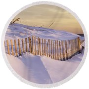Sunrise On Beach Fence Round Beach Towel by Betty Denise