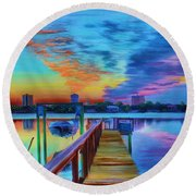 Sunrise On The Dock Round Beach Towel