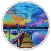 Round Beach Towel featuring the painting Sunrise On The Dock by Deborah Boyd