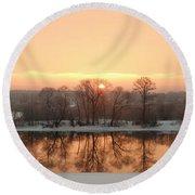 Sunrise On The Ema River Round Beach Towel