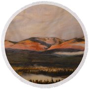 Round Beach Towel featuring the painting Sunrise On The Ibex Valley by Brian Boyle
