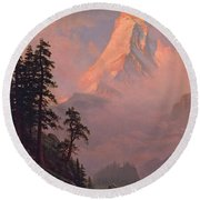Sunrise On The Matterhorn Round Beach Towel