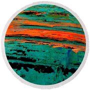 Round Beach Towel featuring the painting Sunrise On The Water by Jacqueline McReynolds